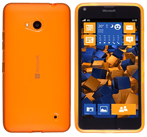 mumbi Hülle kompatibel mit Microsoft Lumia 640 Handy Case Handyhülle, transparent orange