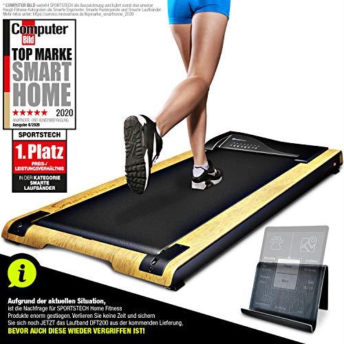 DESKFIT DFT200 Laufband für/unter Schreibtisch - fit und gesund im Büro & zu Hause. Bewegen und ergonomisches Arbeiten, Keine Rückenschmerzen - mit praktischer Tablet-Halterung, Fernbedienung und App