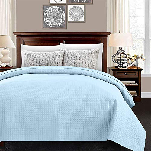 """ALPHA HOME Quilted Bed Quilt Queen Size 86"""" 86""""Polyester Lightweight Checked Bedspread Quilt Machine Washable One Piece Duvet Cover Reversible Cozy Coverlets for All Seasons,Light Blue"""
