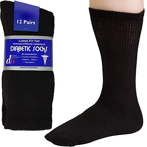 Debra Weitzner - Calcetines para diabéticos para hombre y mujer, sin atar, Negro (Crew/Black), Shoe Size: 8-12