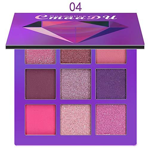 Waterproof Eyeshadow Palette,ROMANTIC BEAR 9 couleurs Ombre à paupières longue durée professionnelle super pigmentée naturelle mate et brillante (Violet)