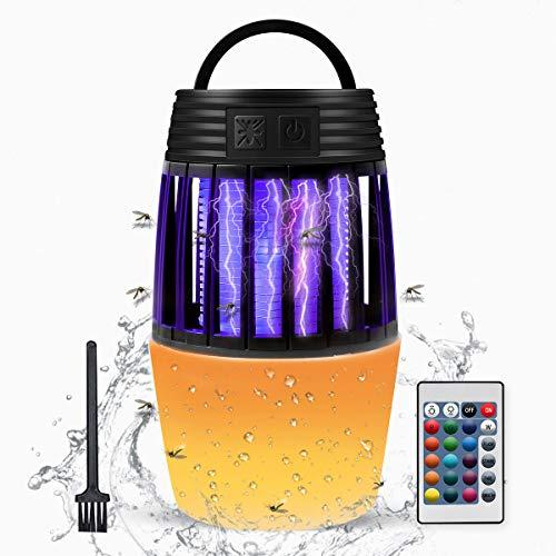 ZOTO Lampe Anti Moustique, Anti Mouche Lampe Camping avec Télécommande + Lampe de Nuit Couleur, Alimenté par Pile Fly Insecte Zapper Lampe pour Extérieur Intérieur avec Crochet Escamotable