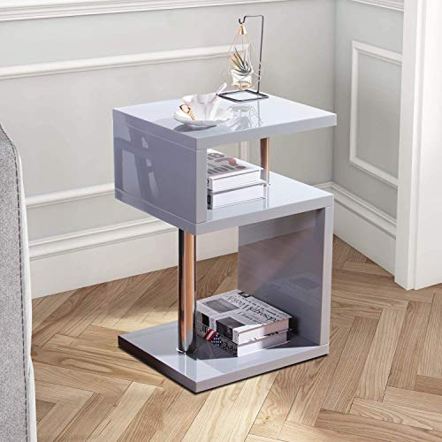 GOLDFAN High Gloss S-Shape Side End Table Heightened with 3 Tier Storage Shelves Modern Coffee Sofa Table Bedside, Grey