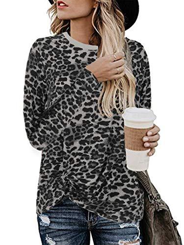 ZANZEA Mujer Camisetas de Manga Larga Estampado Leopardo Top Cuello Redondo Casual Suelta Blusa W-Blanco S