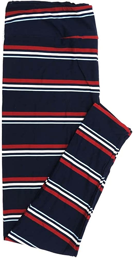 Lularoe TCTWO TC2 Navy with Thin Red White Blue Stripes USA Americana Buttery Soft Womens Leggings fits Adults Sizes 18-26 TCTWO-9060-B-24