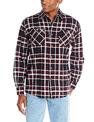 Wrangler Authentics Men's Long Sleeve Flannel Shirt, Caviar, Large