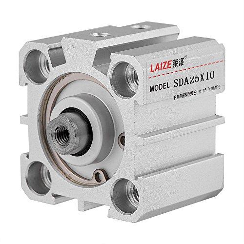 Cilindro de aire, SDA25-10 Cilindro de aire neumático de 25 mm de diámetro de 10 mm de carrera de aluminio de doble acción atornillado vástago de pistón