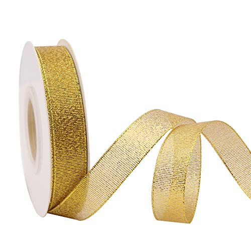 25 Yards Glitter Metallic Ribbon 5/8' Wide Ribbon Valentine's Day, Sparkly Fabric Ribbon Gift Ribbon Thin Ribbon for Gift Wrapping Wedding Party