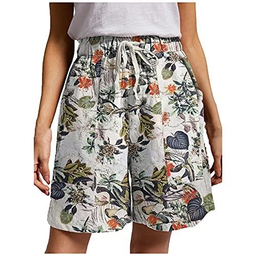 Beudylihy Pantalones cortos de verano para mujer, con cordón, elásticos, de tela sólida, algodón y lino, con bolsillos, beige, S