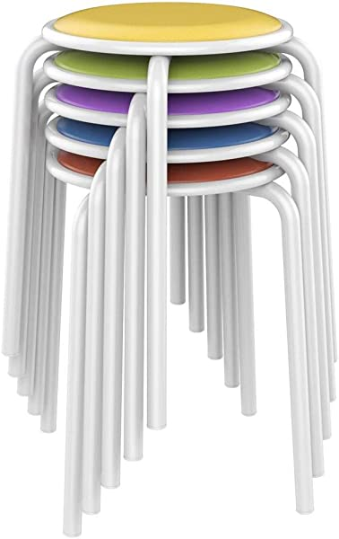 Yaheetech Metal Stack Stools With Padded Seats Backless Kids Children Stool For Classroom 17 7in Height Pack Of 5