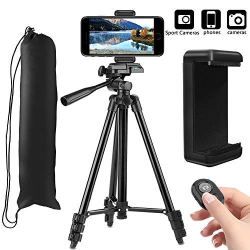 PEMOTech (50'' / 128 cm) Tripode para iPhone con Control Remoto, 4 en 1 Aluminio Ligero Tripode Cámara Réflex Compatible para Samsung, Huawei, DSLR, Canon, Nikon -Oro