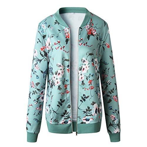 YUPENG Jacke Damen Blumen Drucken top Damen Beiläufig Mode Elegant Reißverschluss Langarm Jacke Herbst und Winter Neues Damen Warm halten Gemütlich All-Match Jacke S