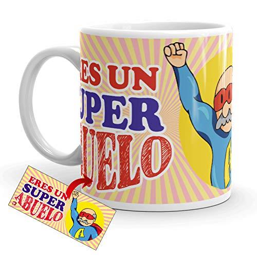 Kembilove Taza Desayuno para Abuelos – Tazas Originales con mensajes Graciosos con Mensaje Eres un super abuelo – Taza de Café y Té para Abuelos – Regalos Originales