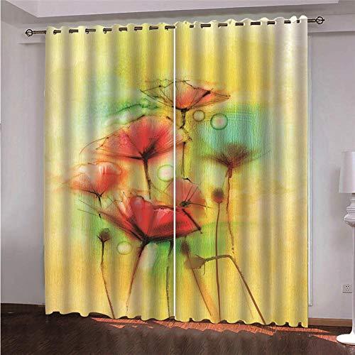BLZQA Cortinas Opacas Cortina térmica Flores Brillantes Ojales Cortina Infantiles Habitaciones Poliéster Tejido Salón Dormitorio Decoración de la Ventana 117 cm x 138 cm x 2