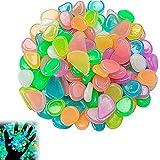 YCCC Piedras Luminosas de Colores, 200 Piezas Piedras Decorativas Guijarros Brillan en la Oscuridad la Decoración de Jardín Fluorescentes Grava de Resina para Hogar Aire Libre Parques Peceras Acuario