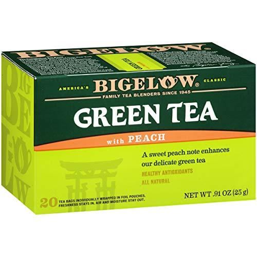Bigelow Green Tea with Peach Tea Bags, 20 Count Box (Pack of 6) Caffeinated Green Tea, 120 Tea Bags Total