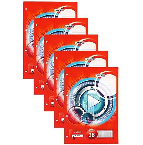 Landre Schulblock A4 kariert mit Rand, 50 Blatt, gelocht, kopfverleimt, 5er Pack, rot, 400145132
