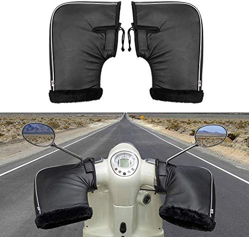 ISSYZONE Lenkerhandschuhe Winter, Motorrad Lenkerstulpen aus PU Leder, mit Reflektierende Streifen, Geeingnet für 22MM Lenker, Universal für Roller ATV Motocross Fahrrad