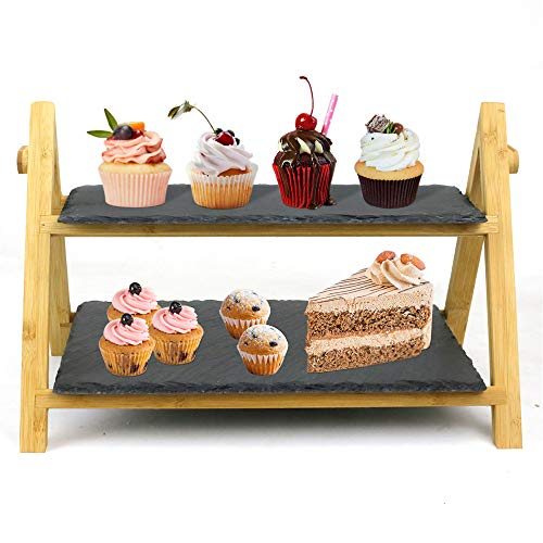 Cozy Vibe Serving Tray, 42 x 32 x 25.5 cm, Bamboo and Slate Slate Cake Stand, Antipasti Plate, Tiered Serving Stand, Rustic Serving Plate, Slate Wedding Cake Stand,