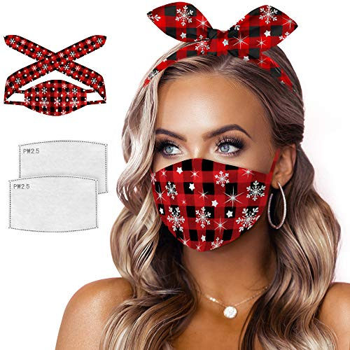 3 in 1 Cloth Face Cover Reusable Washable Headband Christmas Decorative Bandanas for Women(Chritmas Red)