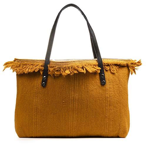 FIRENZE ARTEGIANI. Vala Borsa Shopper Donna. Tessuto Cotone Bouclé .Made in Italy.50x9x36 cm Colore: pelle chiara.