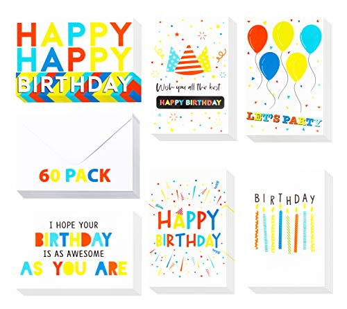【60 Pack】 Birthday Cards - Birthday Greeting Cards in Joyful Colors - Bulk Birthday Cards - Birthday Cards For Kids, Birthday Cards for Boys, Girls, Mom, Dad, Friends -Include 60 Envelopes- 4 x 6 Inch