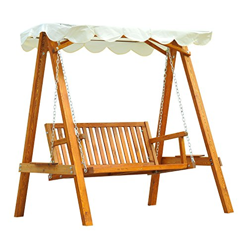 Outsunny 2 Seater Wooden Wood Garden Swing Chair Seat Hammock Bench Furniture...