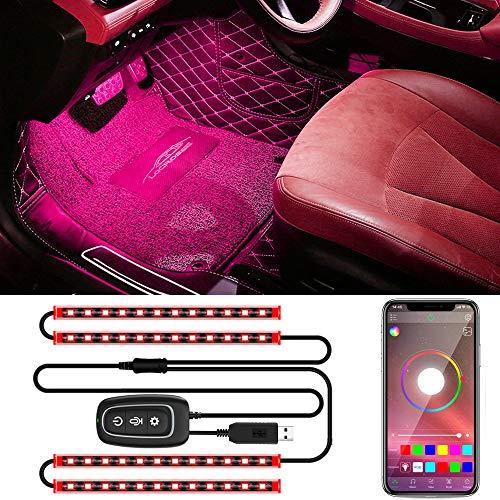 Trongle LED Auto Interni, 48 Luci Led Auto Con Controllo Tramite App , 4 Pezzi Impermeabile Striscia Led Auto Multi Fai Da Te Con Musica Colori Attivata Dal Suono, Porta USB Con Caricabatteria Da Auto