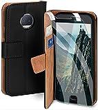 moex Handyhülle für Moto G5s Plus - Hülle mit Kartenfach, Geldfach & Ständer, Klapphülle, PU Leder Book Hülle & Schutzfolie - Schwarz