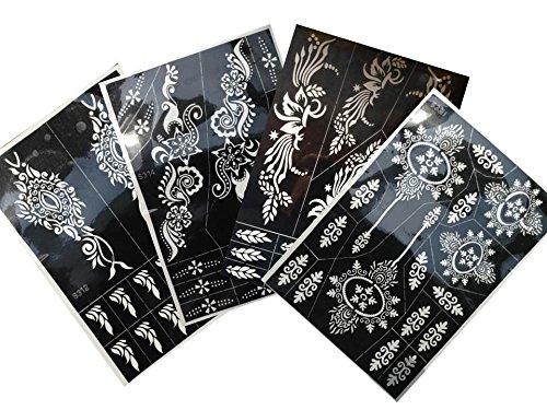 4 Grande Fogli Mehndi Tattoo Stencil Tally Mehndi Tatuaggi all'hennè - Per Tatuaggio all'henné, scintillio tatuaggio e airbrush tatuaggio