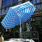 LIUU Parasol Jardin Enfant Rayures Bleues Et Blanches,1.8m Petit Parasol Balcon,Parasol Plage Réglable en Hauteur pour Extérieur,Plage,Terrasse,Jardin(Inclinable)
