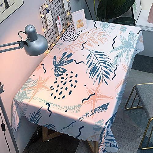 Manteles 3D Mantel Rectangular de PVC,Fácil de Limpiar,Resistente Al Agua,Resistente A Las Manchas para Jardín,Habitaciones,decoración de Mesa,80X130Cm Estrella de Mar de Hojas Simples
