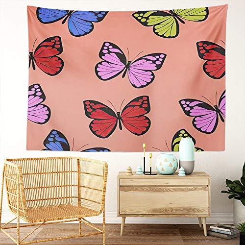 Y·JIANG Tapiz de mariposa, abstracto, hermoso, mariposas, mosca, insectos, adornado retro, decoración para el hogar, dormitorio, 203 x 152 cm