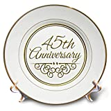 3dRose cp_154487_1 45th Gold Text for Celebrating Wedding Anniversaries 45 Years Married Together Porcelain Plate, 8-Inch