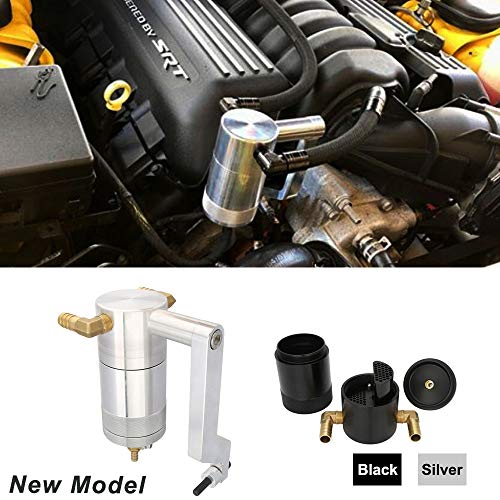 Kyostar New Model Silver Oil Catch Can For Dodge Charger Challenger Chrysler 6.4L 5.7L HEMI with Technology Z-Bracket Scat Pack