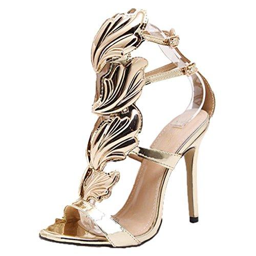 Ba Zha HEI Damen Riemchensandaletten Sandaletten Stiletto High Heels Metallic Party Schuhe Elegante Abendschuhe Hochzeit Pure Farbe Metall Flügel Gut mit Offener Zeh High Heels Sandalen (Gold, 38)