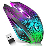 VersionTECH. Wireless Gaming Mouse, Rechargeable Computer Mouse Mice with Colorful LED Lights, Silent Click, 2.4G USB Nano Receiver, 3 Level DPI for PC Gamer Laptop Desktop Chromebook Mac -Black