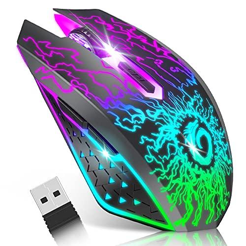 VersionTECH. Mouse da gioco wireless, mouse per computer ricaricabile con luci a LED colorate, clic silenzioso, ricevitore USB 2.4G, DPI a 3 livelli per PC Gamer Laptop Mac -Nero