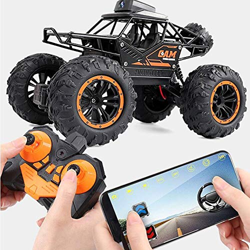 HCSW 1:18 Alloy RC Car Kids Smart Remote Control Car 2.4Ghz High Speed Radio Off-Road Climbing Car Suitable for Any Terrain with WiFi HD Camera RC Crawler Car Best Gift for Children Adults
