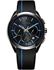 COMTEX 腕時計 メンズ ブラック スポーツ クロノグラフ ウオッチ クォーツ 時計 ブルー