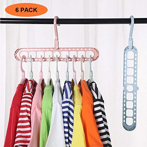 OFFA organizer voor kleerhangers, met multifunctionele ruimtebesparende functies, verpakking met 6 standaard hangers met 9 gaten, willekeurige kleur selectie