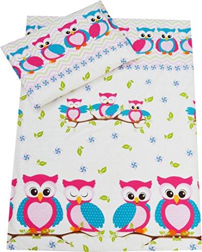 Toddler cot Bed Bedding Set Duvet Cover Pillowcase 120x150 cm 100% Cotton (Pink Owls)