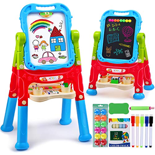 UMIKU Kids Easel 4 in 1 Art Easel for Kids Double Sided Painting Easel Chalkboard & Magnetic Dry Erase Board Adjustable Height Toddler Toys Gifts for 3 4 5 6 7 Year Old Girl Boy with Kid Art Supplies