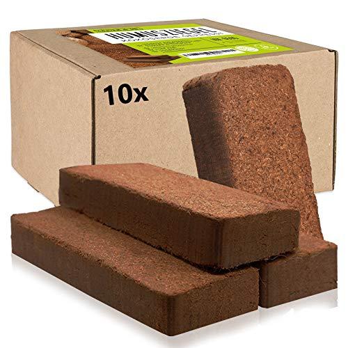 Oliver&Jay Humusziegel Kokoserde gepresst 10x650g – Für 90 L Anzuchterde aus Kokosfaser