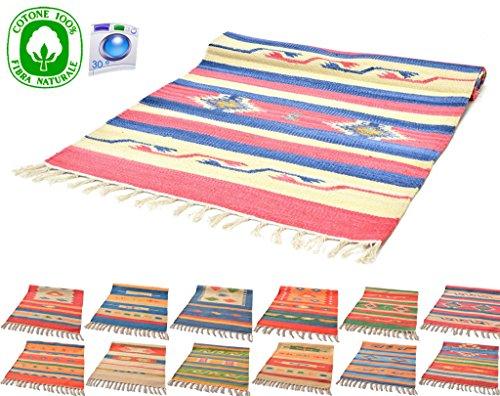 Fantasy Casablanca Kelim-tapijt, van katoen, wasbaar, geschikt voor badkamer en keuken, 50 x 90 cm, 60 x 140 cm, verschillende kleuren en patronen, wasmachinebestendig op 30 °, omkeerbaar