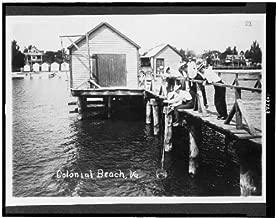 HistoricalFindings Photo: Colonial Beach,Virginia,VA,Resort,Boathouse,Fishing,People Crabbing from Pier