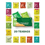 ONLYLEAF 100% Natural Immunity Boosting Green Tea Sampler Box, 20 Pyramid Tea Bags of 10 Different Exotic Flavors