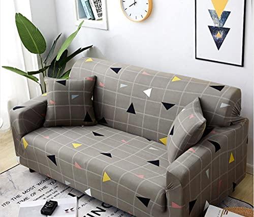 Funda de Sofá2 Plazas,Jacquard Poliéster Funda Sofa Elasticas Suaves Resistentes Sofa Antideslizante, Cubierta para Sofa Protector-Gris, Cuadriculado, Triángulo