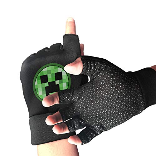 Mine-Crafts Halbfinger-Reithandschuhe, Damen, UV-Handschuhe, leicht, für Fahren, Fitness, rutschfeste Handschuhe Einheitsgröße Schwarz