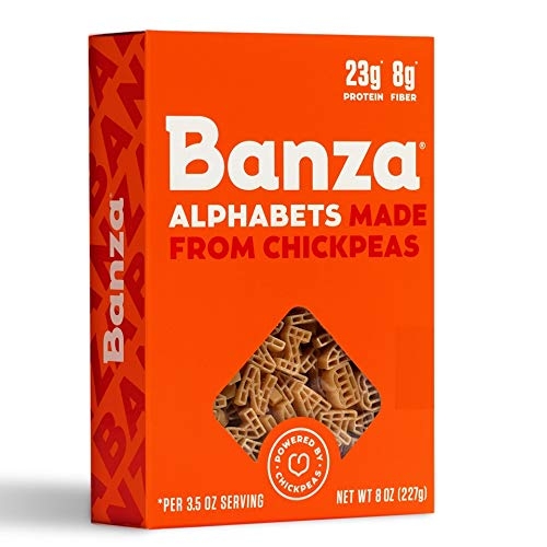 Banza Chickpea Pasta, Alphabets - Gluten Free Healthy Pasta, High Protein, Lower Carb and Non-GMO - (Pack of 6)